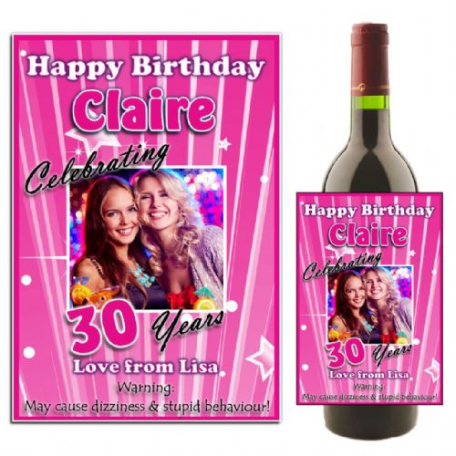 Personalised Pink Stripe Happy Birthday Wine / Champagne Bottle PHOTO Label N24